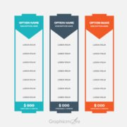 Free Three Colors Pricing Table Design Vector File