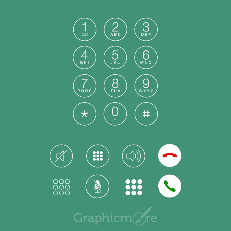 IOS7 Phone or Call Dialer Mockup Design Free Vector File