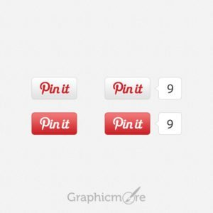 Pinterest Pin It Buttons Design Free PSD File