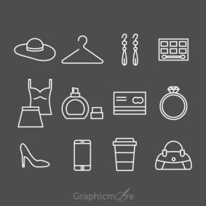 Shopping White Line Icons Design Free Vector File