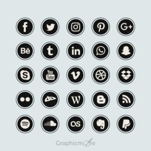 Black Flat Social Media Icons Design Free Vector File