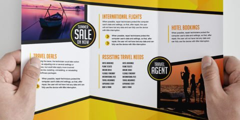 Free Trifold Brochure Template for Travel Agencies By GraphicMore