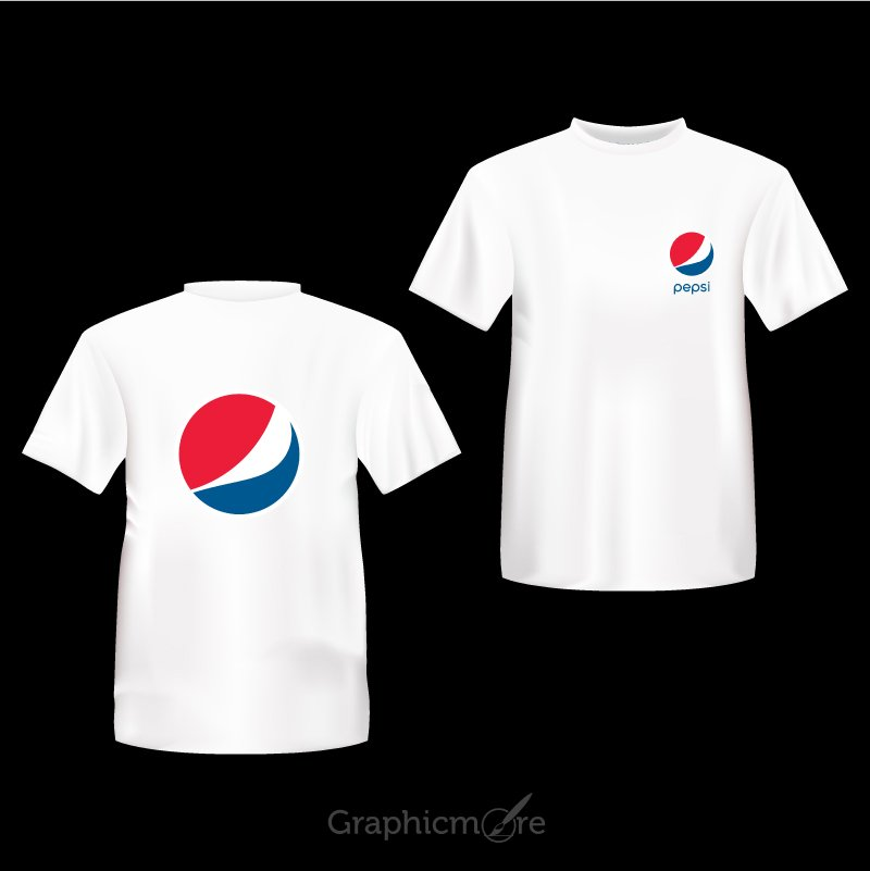 Pepsi Company White T Shirt Front & Back Side Design Free Vector File