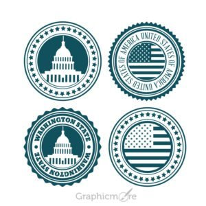 USA Badge Set Design Free Vector File
