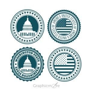 USA Badge Logo Set Design Free Vector File Download