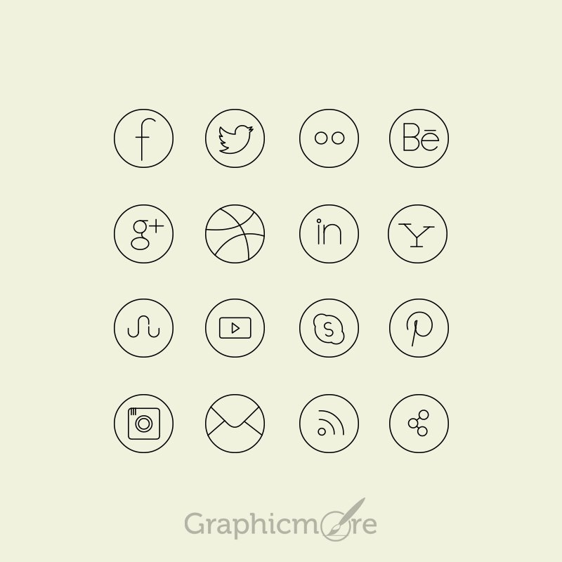 Social Media Line Icons Set Design Free PSD File - GraphicMore