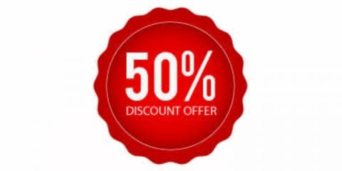50 Percent Discount Offer Badge Design Free Vector Download