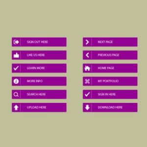 Flat Web Page Button Set Design Free Vector Download