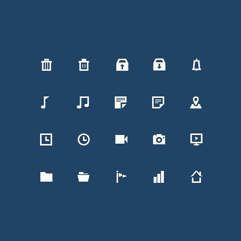 20 Free Flat Business Icons Design PSD Download