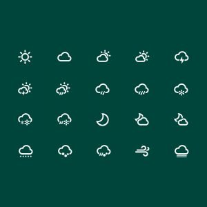20 Free Weather Icon Collection Design PSD Download