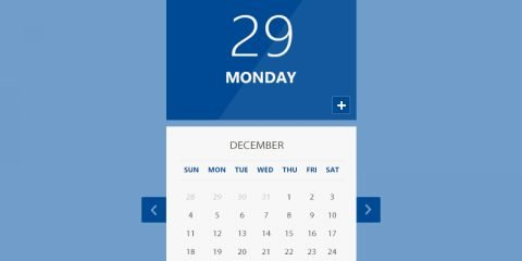 Calendar UI PSD Design Free Download