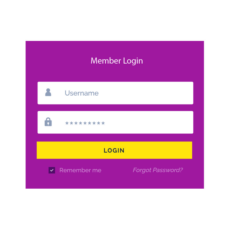 Puple Member Login Form UI Template Vector Design