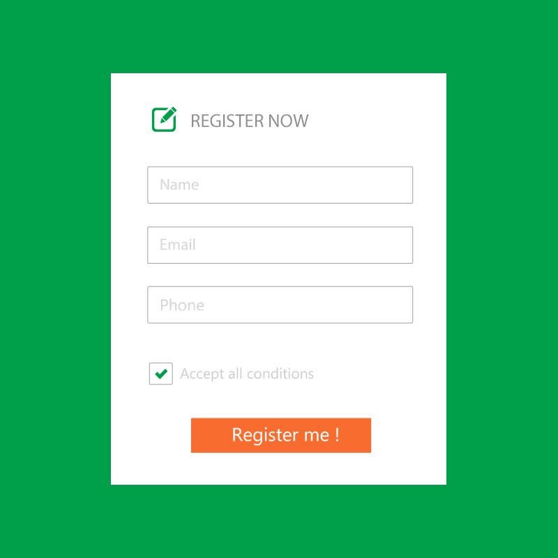 Register Now Template on a Green Background Free PSD Download