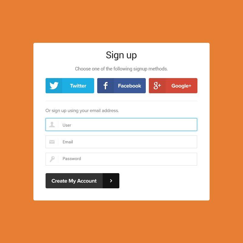 Signup Form Mockup Template Design Free PSD