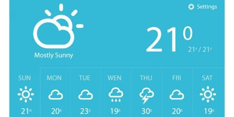 Weather Report Widget Template Design Free PSD Download