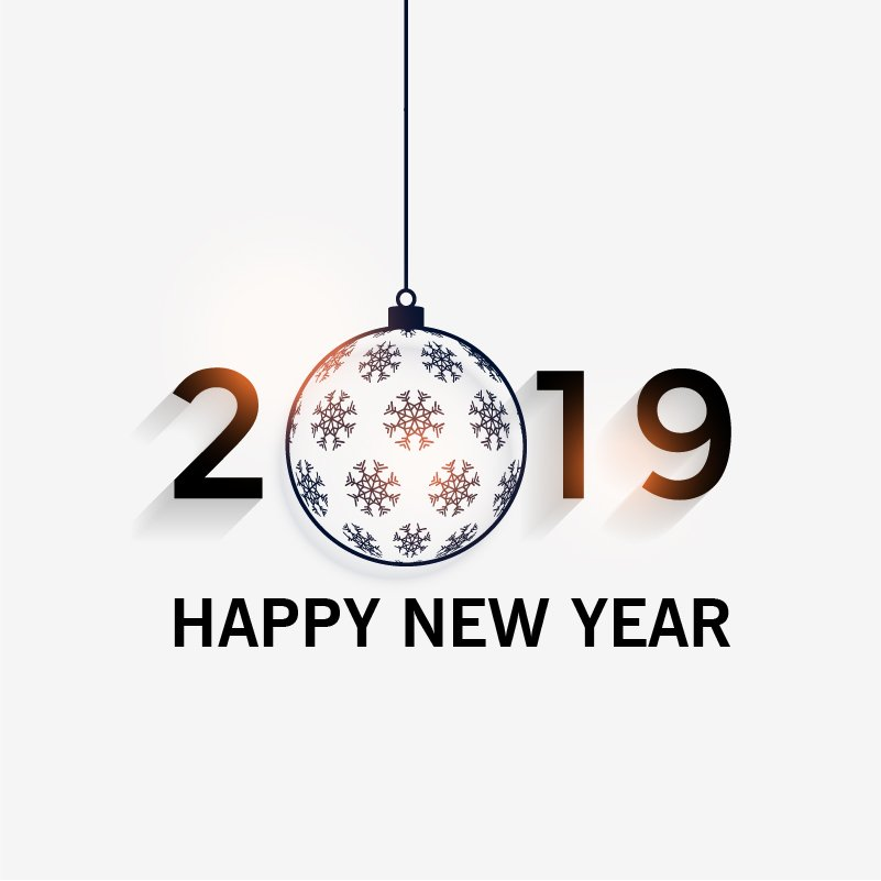 happy new year 2019 greeting card design free vector