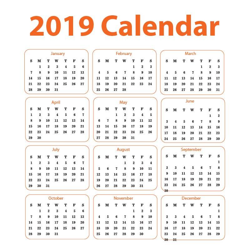 2019 Calendar Free Vector Corporate Design Download