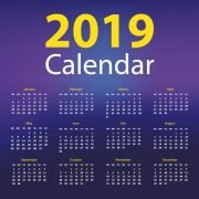 2019 Calendar Free Vector Design on Dark Background