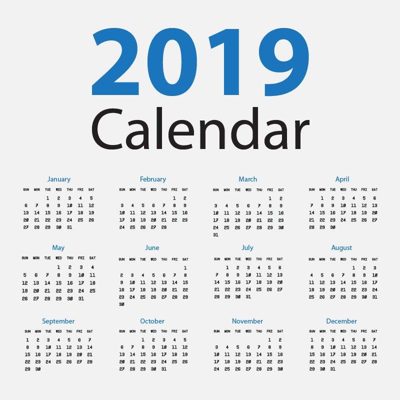 2019 Calendar Free Vector Design on Light Background