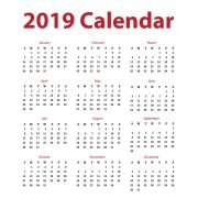 Clean 2019 Calendar Free Vector Design Download