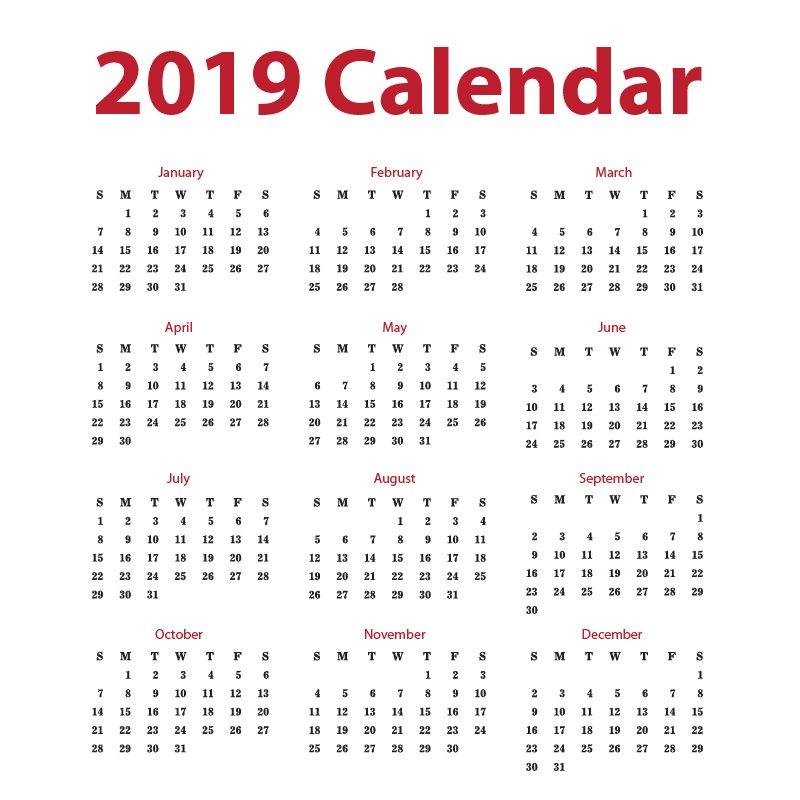 clean 2019 calendar free vector design download