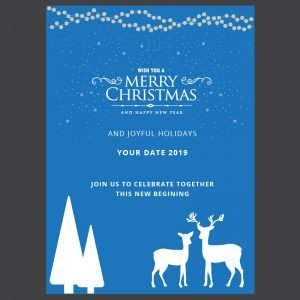 Free Merry Christmas Blue Card Design Vector Download
