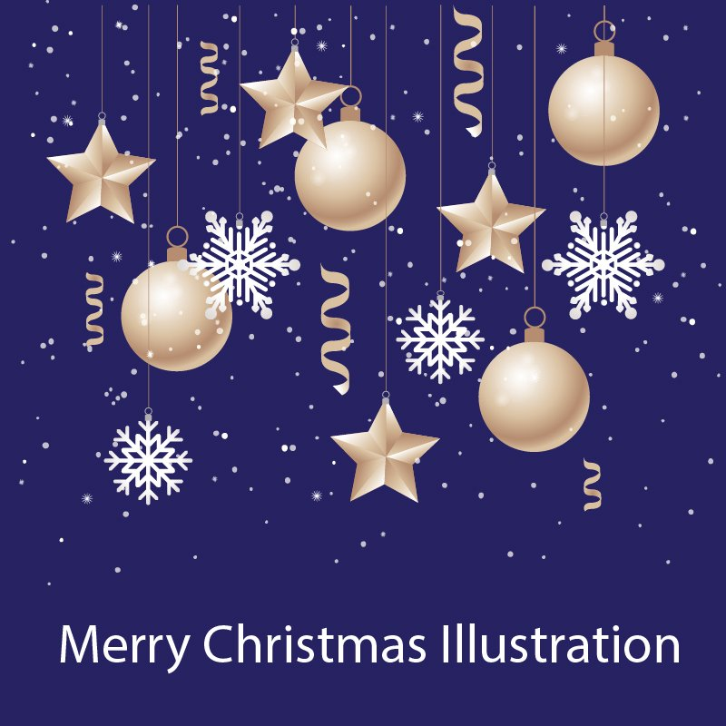Free Merry Christmas and New Year Illustration Design Vector