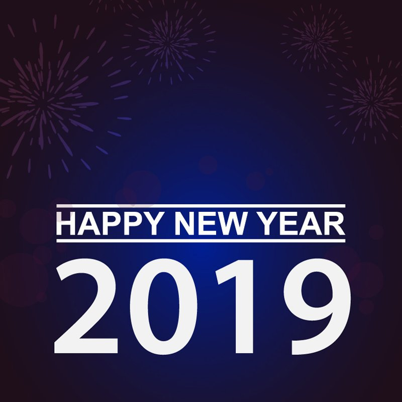 Happy New Year 2019 Banner Illustration Card Design