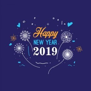 Happy New Year 2019 Greeting Card Design by GraphicMore