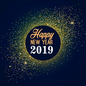 Happy New Year 2019 Greeting Free Vector Card Design