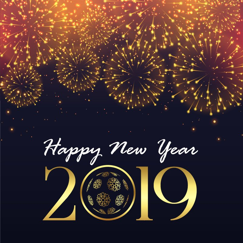 Happy New Year 2019 Greeting with Fireworks Free Vector Card