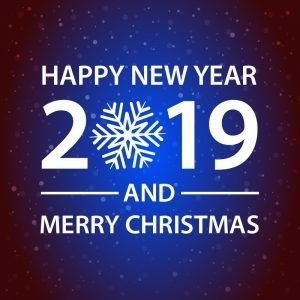 Happy New Year and Merry Christmas Blue Card Design