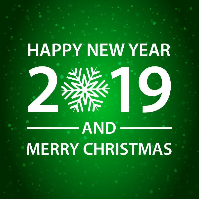 Happy New Year and Merry Christmas Green Card Design