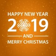 Happy New Year and Merry Christmas Orange Card Design