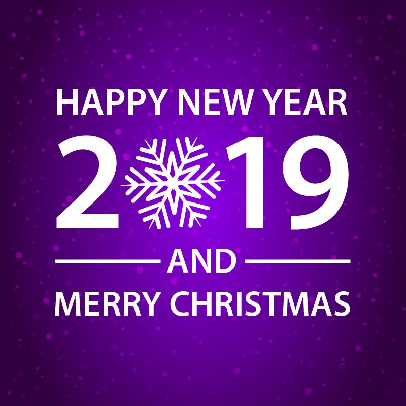 happy new year and merry christmas purple card design