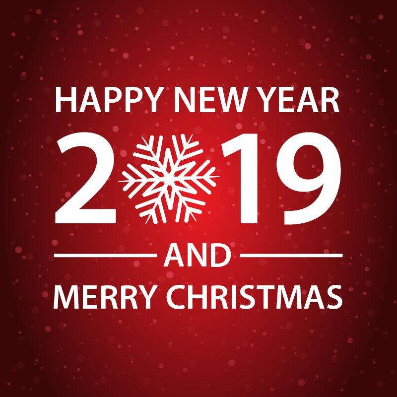 Happy New Year and Merry Christmas Red Card Design
