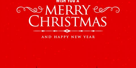 Merry Christmas Red Card Design Free Vector Download