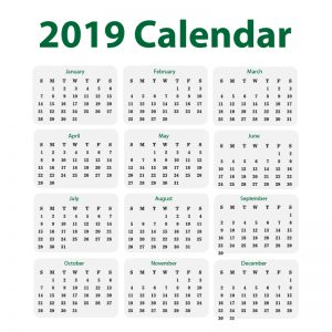Minimal 2019 Calendar Free Vector Design Download