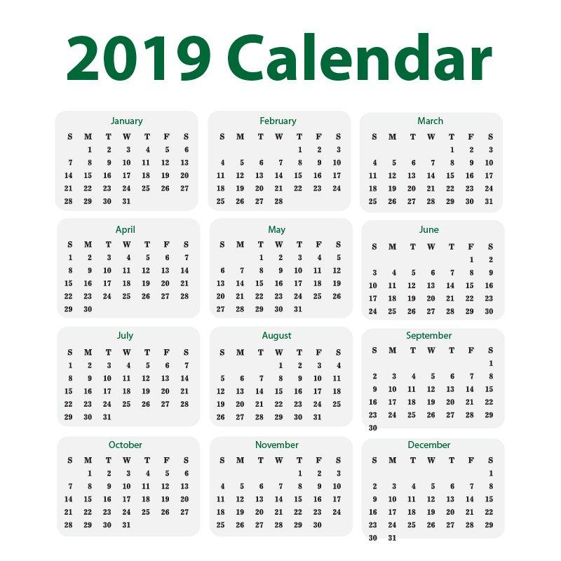 Minimal 2019 Calendar Free Vector Design Download