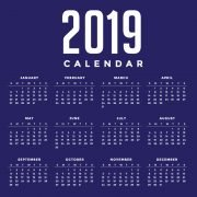 Minimal Blue New Year 2019 Calendar Design by GraphicMore