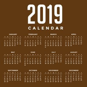 Minimal Brown New Year 2019 Calendar Design by GraphicMore