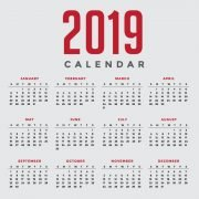 Minimal Gray New Year 2019 Calendar Design by GraphicMore