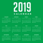 Minimal Green New Year 2019 Calendar Design by GraphicMore