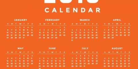 Minimal Orange New Year 2019 Calendar Design by GraphicMore