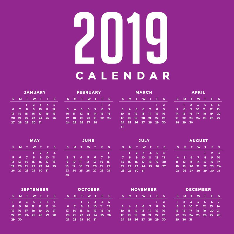 minimal purple new year 2019 calendar design by graphicmore