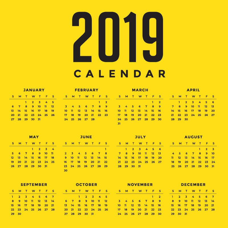 Minimal Yellow New Year 2019 Calendar Design by GraphicMore
