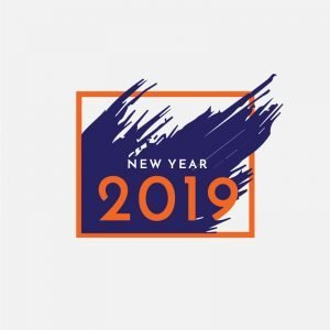 New Year 2019 Post Card Design Free Vector