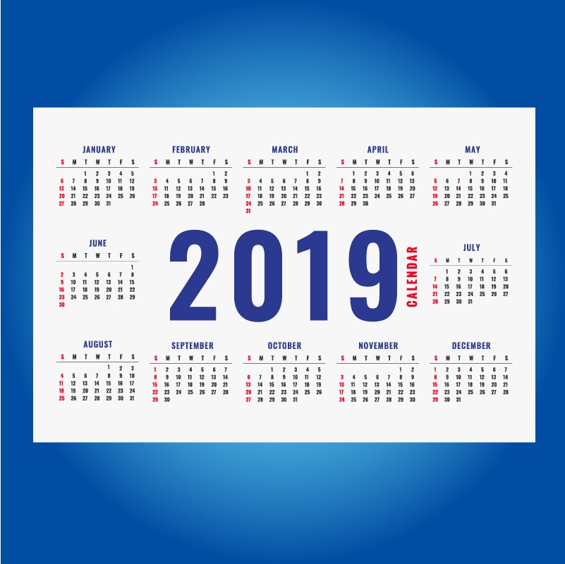 Simple New Year 2019 Calendar Layout Design Free Vector