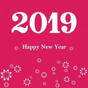 Happy New Year 2019 Card Poster Vector with Flowers