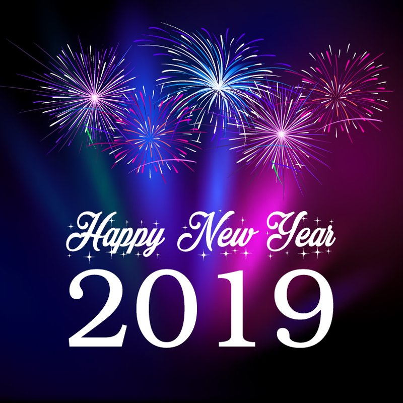 Happy New Year 2019 Card with Colorful Fireworks Celebration